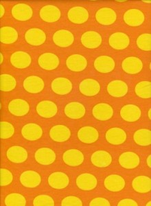 Yellow/orange coin dot jersey knit- 95% cotton, 5% elastane